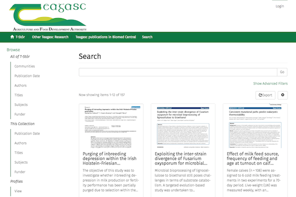 Teagasc T-Stor Repository - Search results grid view